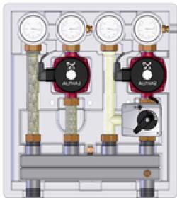 ME 26102.41 Meibes насосно-смесительный модуль Kombimix UK_MKSTM_UPSO 15-65